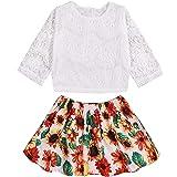 Xuuly Infant Baby Girl Dress Flower Print Ruffled Sleeveless Summer Princess Dress+Cute Headband Skirt Set