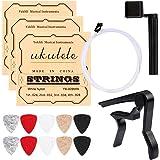Ukulele Strings, Yoklili 5 Sets of Nylon Ukulele Strings with 10 Felt Picks, String Winder for Soprano (21 Inch) Concert (23