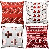 WLNUI Rusty Boho Modern Pillow Covers 16x16 Inch Set of 4 Square Farmhouse Throw Pillow Covers Geometric Mudcloth Linen Neutr