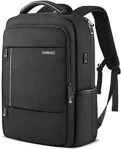 VARNIC ビジネスリュック バックパック 大容量 15.6インチノートPC収納 USBケーブル&イヤホン穴付き (ブラック)