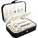 Travel Jewelry Box, PU Leather Small Jewelry Organizer for Women Girls, Double Layer Portable Mini Travel Case Display Storag