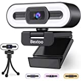 1080P Webcam with Microphone and Ring Light, Streaming Webcam USB Plug and Play, HD Web Camera Auto-Focus Adjustable Brightne