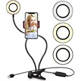 Selfie Ring Light with Cell Phone Holder Stand for Live Stream and Makeup, UBeesize LED Camera Light [3-Light Mode] [10-Level