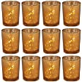 Biedermann & Sons 12 Count Rustic Glass Votive Candle Holders, Amber