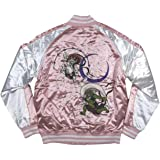 [イッシンニョキョウ] 風神雷神 舞桜 総刺繍 サテン地 中綿入り 和柄 スカジャン