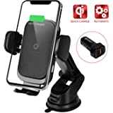 YoSpot Smart Wireless Charger Auto-Clamp Mount w/USB-C, AC Vent & Windshield Phone Holder Compatible with iPhone 11, 11 Pro/P