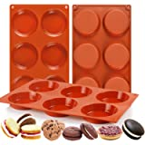 """Palksky (3 PCS) 6-Cavity Silicone Whoopie Pie Baking Pan/Non-Stick 3"""" Round Muffin Top Pan/Mini Tart Pan for Egg Cloud Bread"""