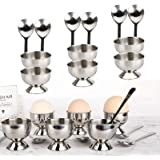 koeall Stainless Steel Egg Cups Set for Hard Soft Boiled Eggs with 6 Egg Cup Holders 6 Egg Spoons,Enjoy egg Cups breakfast, t