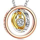 QIANSE Christmas Necklaces Gifts Sun of Life Three Rings Design Pendant with Engraving Necklace, Swarovski Crystals Jewelry