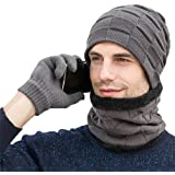 VBIGER Winter Beanie Hat Touchscreen Gloves Neck Warmer Scarf Set Slouchy Beanie Thinsulate Gloves for Men and Women