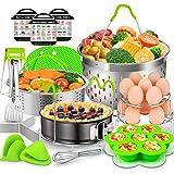 17 Pcs Accessories for Instant Pot, EAGMAK 6, 8 Qt Pressure Cooker Accessories - 2 Steamer Baskets, Non-stick Springform Pan,