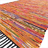 EYES OF INDIA - 3 X 5 ft Orange Colorful Woven Tassel Chindi Area Rag Rug Braided Bohemian Accent Indian Boho Chic Decorative