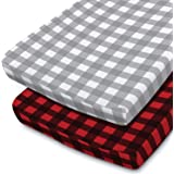 The Peanutshell Baby Changing Pad Covers for Boys or Girls   2 Pack Set   Red and Grey Buffalo Plaid