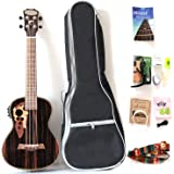 26 Inch All Blackwood Tenor Acoustic Electric Ukulele With Truss Rod With EQ with Gig Bag,Strap,Nylon String,Electric Tuner,P
