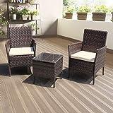 DIMAR garden 3-Piece Outdoor Rattan Patio Furniture Sectional Sofa Wicker Furniture Conversation Set Lawn Garden Pool Courtya