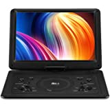 【Upgraded】 DR.Q 14.1'' Portable DVD Player with 5 Hours Rechargeable Battery, 1280x800 HD Swivel Screen, Remote Control, 5.9f