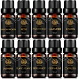 Aromatherapy Geranium Essential Oil Set for Diffuser, 100% Pure Jasmine Essential Oil Kit for Humidifier, 10x10ml Therapeutic