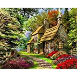 Colorful Wood House Paint by Numbers Kit DIY Gift for Adults Kids Oil Painting Canvas Acrylic Paints Home Wall Decor 16x20Inc