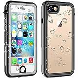 iPhone SE ケース [第2世代] iPhone8 ケース iPhone7 ケース 防水ケース 完全防水 防塵 耐衝撃 ワイヤレス充電 指紋認証対応 米軍規格 軽量 薄型 クリア 透明 付け外し簡単 保護タッチパネルスクリーン付き ストラップ付