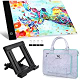PP OPOUNT Diamond Painting A4 5D LED Light Pad Set Including Polyester Felt Hand Held Case Bag, A4 LED Light Pad, Stand Holde