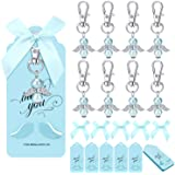 MOVINPE Thank You Gift in Bulk, Angel Horseshoe Keychains Plus Bows Plus Angel Wing Thank You Tags, Guest Return Gifts for Ba
