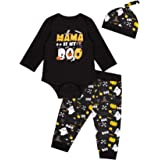 Auggle 3PCS Baby Boys' Mama is My Boo Clothes Set Halloween Ghost Costume Pants with Hat