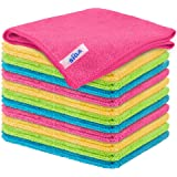 "MR.SIGA Microfibre Cleaning Cloth,Pack of 24,Size:12.6"" x 12.6"", Yellow/Green/Pink/Blue, 12-Pack 12.6"" x 12.6"""