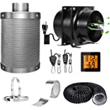 """4"""" Grow Tent Ventilation Kit with Axial Inline Fan+Carbon Filter Ducting Clamps Combo+Rope Hanger+Aluminum Sealing Tape+Tempe"""