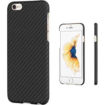 「PITAKA」 iPhone6ケース/iPhone6s ケース Magcase 軍用防弾チョッキ素材アラミド繊維 超薄(0.65mm) 超軽量(12g) 超頑丈 衝撃吸収 高耐久性 スリム 薄型 (黒/灰 ツイル柄)