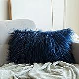 (30cm x 50cm, Fur Dark Blue) - MIULEE Decorative New Luxury Series Style Dark Blue Faux Fur Throw Pillow Case Cushion Cover f