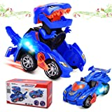Dinosaur Cars Transforming Toys,Transforming Dinosaur LED Car with Light Sound Kids Toy,Dinosaur Cars Combined Into One,Autom