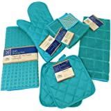 Kitchen Towel Set with 2 Quilted Pot Holders, Oven Mitt, Dish Towel, Dish Drying Mat, 2 Microfiber Scrubbing Dishcloths (Turq