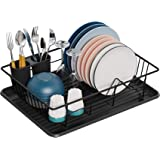 Dish Drying Rack,GSlife Dish Rack with Tray Dish Drainer for Kitchen Countertop, Black