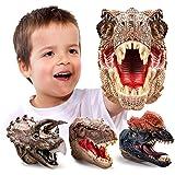 GEYIIE Dinosaur Hand Puppets, Soft Rubber Dinosaur Toys Set, Realistic Tyrannosaurus, Dilophosaurus, Triceratops for Kids Adu