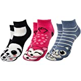 Polar Extreme (3 Pairs) Thermal No Show Animal Slipper Socks With Grippers Nonslip Socks For Women Kids