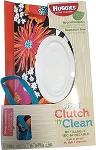 ハギーズ(Huggies)クラッチ クリーン(Clutch'n'Clean) お尻ふき携帯用ポーチ 32枚入 (花柄模様) [並行輸入品]