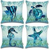 ONWAY Mediterranean Vintage Style Nautical Sea Theme Decorative Cotton Linen Throw Pillow Covers 18x18, Set of 4