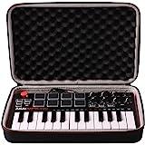 LTGEM Travel Hard Carrying Case for Akai Professional MPK Mini MKII | 25-Key Ultra-Portable USB MIDI Drum Pad & Keyboard Cont