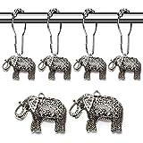Rust Proof Shower Curtain Hooks - Brushed Nickel Elephant Decorative Accessories Set for Bathroom Curtain, Bedroom, Kids, Bab