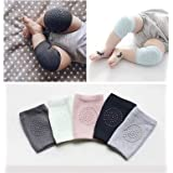 Baby Knee Pads Adjustable Knee Elbow Pads Crawling Baby Knee Socks with Non Slip pad (Brown)