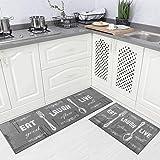 "Carvapet 2 Piece Kitchen Rug Set Non-Slip Backing Mat Throw Rug for Kitchen Doormat Runner Rug Set, Motto Design, Grey (17""x4"