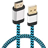 USB to HDMI Cable, Yeebline [Aluminum Shell, Nylon Braided] 0.5m USB 2.0 Male to HDMI Male Charger Cord Splitter Adapter Gold