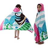 "Beach Bath Towel with Hood for Kids Toddlers Boys Girls 2 to 7 Years ,Oversize Extra Size 50""x30"",Super Soft Absorbent Cotton"