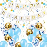 Zowella Happy Birthday Banner, Happy Birthday Banner White, Blue Balloons and Gold Confetti Balloons Hanging Swirls, Glitter