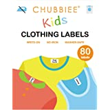 No-Iron Kids Clothing Labels, Stick-On Fabric Labels for Daycare, Washer & Dryer Safe, Pack of 80