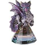 StealStreet 71698 3.5 Inch Purple Baby Dragon on Pyramid Glass, Statue Figurine