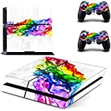 FOTTCZ PS4 Skin Whole Body Vinyl Skin Sticker Decal Cover for Playstation 4 Console and Two Controllers - Rainbow Band