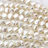 fashiontrenda Natural Genuine Freshwater cunltured Pearl Free Size Jewelry Making Loose Beads (White 4-6mm)