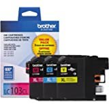 Brother Genuine High Yield Color Ink Cartridge, 3 Pack of LC103, Replacement Color Ink Three Pack, Includes 1 Cartridge Each