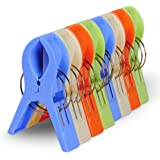 ECROCY 8 Pack Bright Color Jumbo Size Beach Towel Clips for Beach Chairs Or Lounge Chair - Keep Your Towel from Blowing Away,